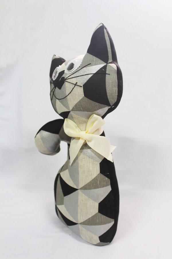 Gato de tela colección arlequín plateado